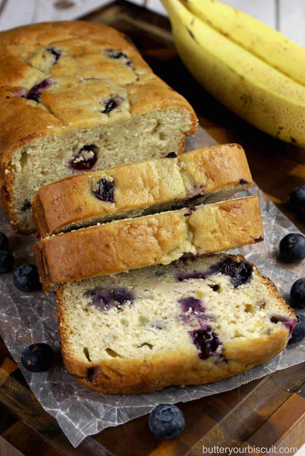 Banana-Blueberry Cream Cheese Bread - Butter Your Biscuit