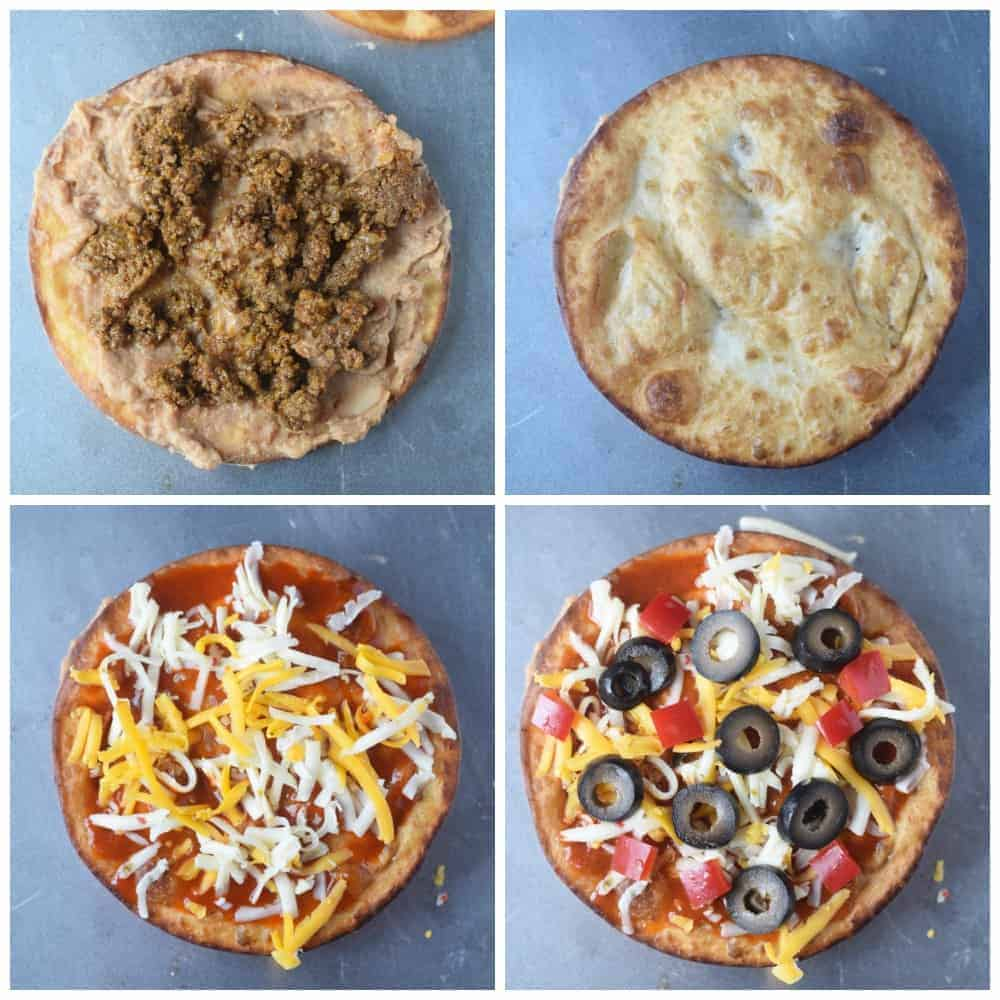 Four process photos. First one crispy fried tortilla with a smear of refried bean and taco meat on top. Second one, another crispy tortilla on top. Third one, sauce and cheese on top. Fourth one, sliced olives on top.
