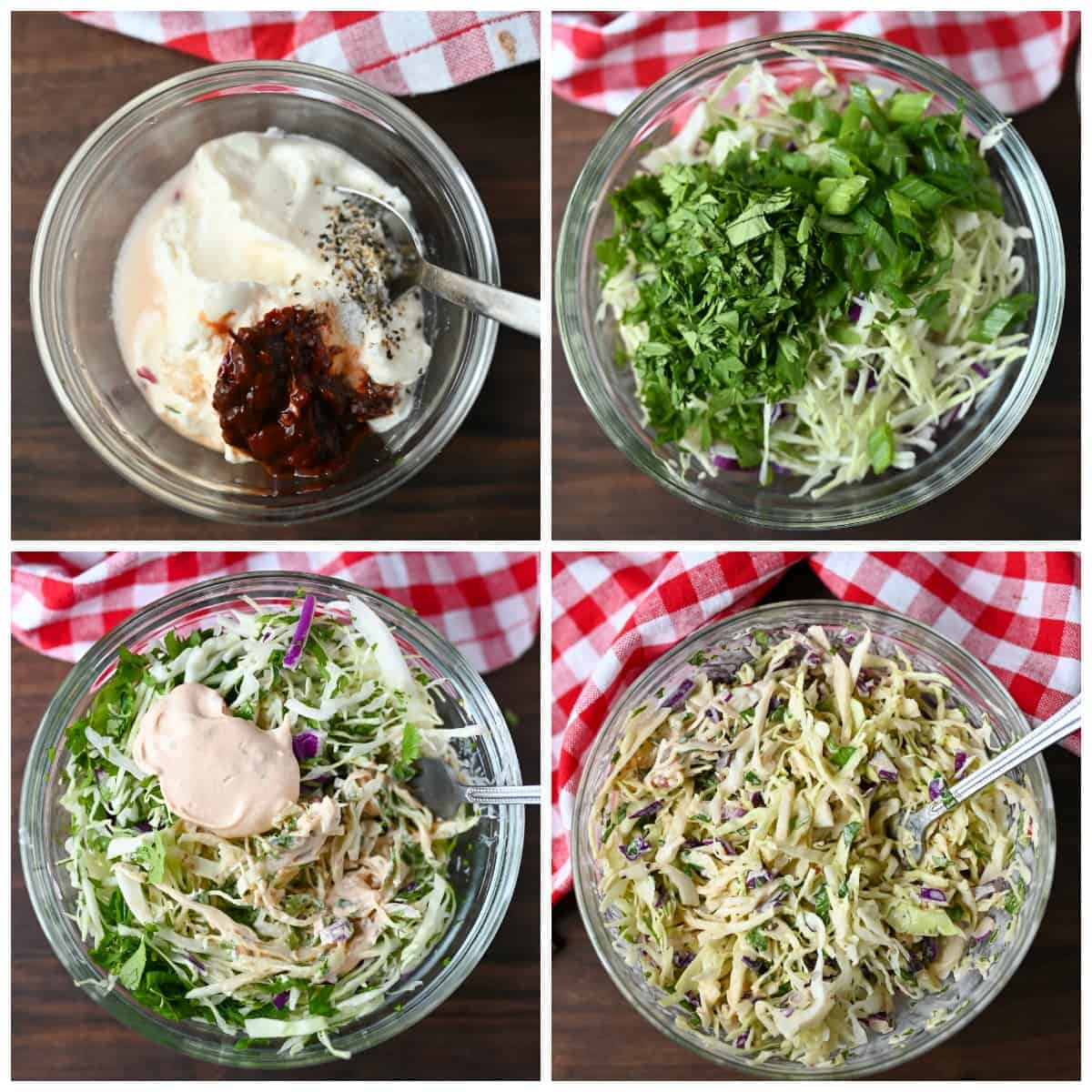 Four how to steps. Step one, sauce mixture in a small bowl with a spoon. Step two, coleslaw ingredients placed into a clear bowl. Step three, coleslaw ingredients with sauce mixture on top. Step four, the coleslaw fully mixed together in a bowl with a spoon.