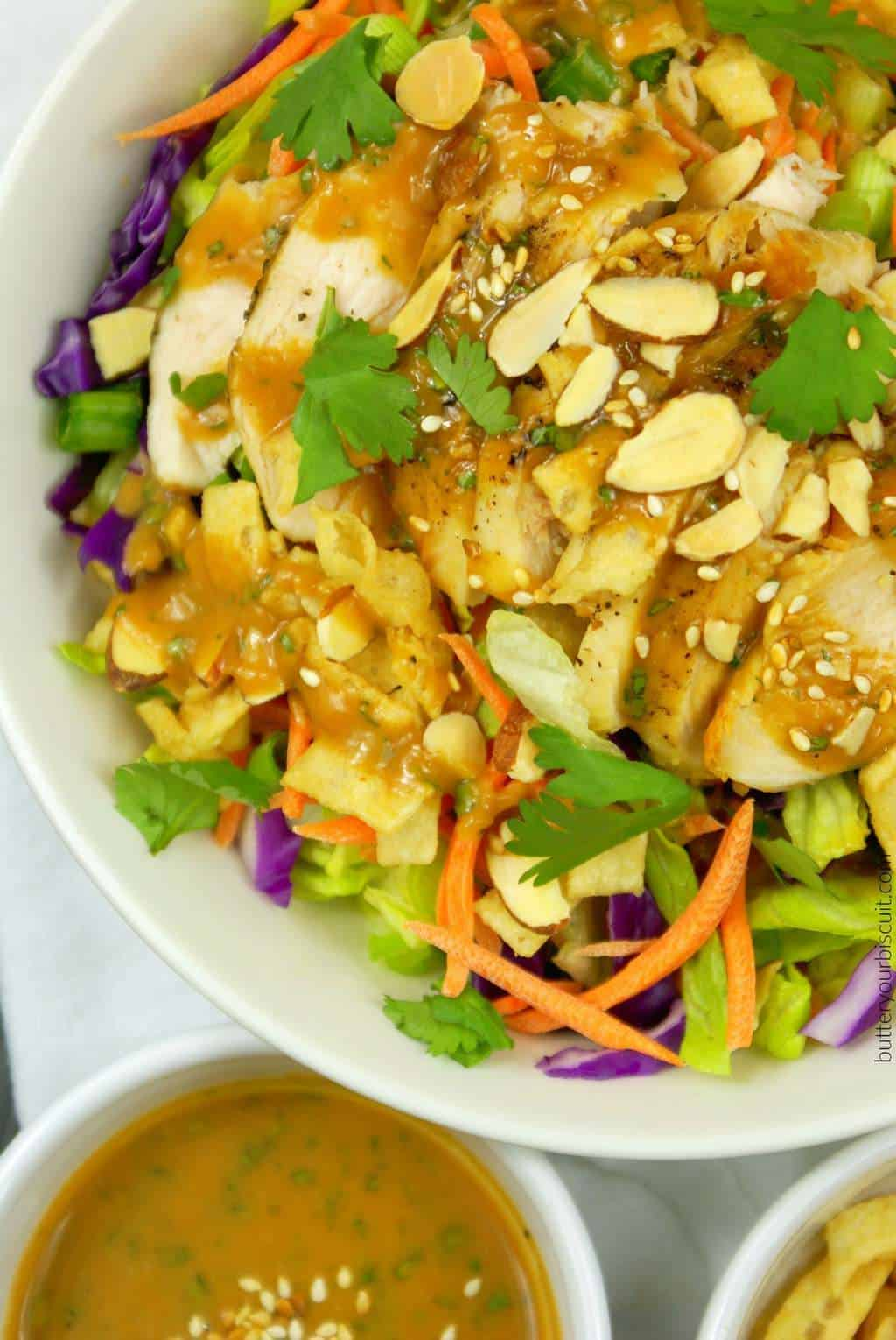 Asian Chicken Salad with a Spicy Peanut Dressing - Butter ...