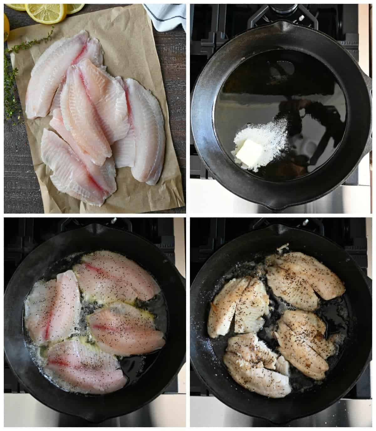 Four process photos. First one, fresh tilapia on parchment paper. Second one, olive oil and butter in a cast iron skillet. Third one, tilapia places in the skillet. Fourth one, tilapia that has been flipped.