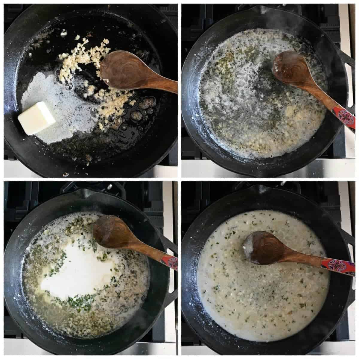 Four process photos. First one, butter and garlic melted in the skillet. Second one, white wine added in the skillet. Third one, heavy cream added in to the skillet. Fourth one, a spoon stirring the sauce. ,