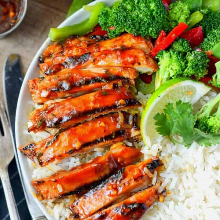 Honey sriracha grilled chicken with coconut rice and broccoli and peppers