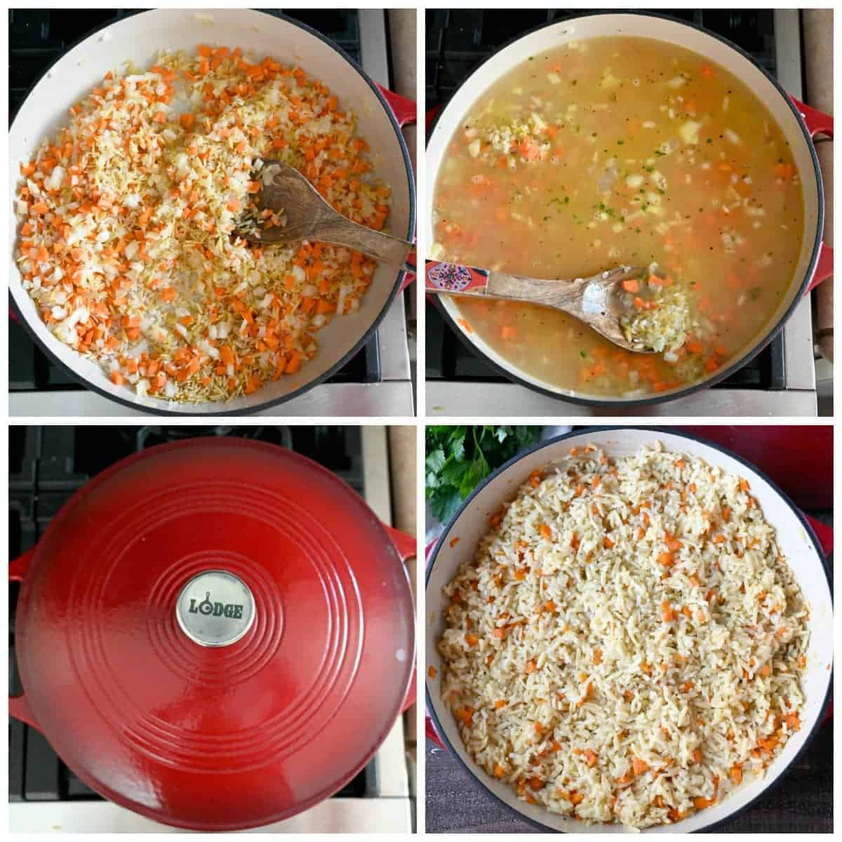 Four process photos. First one, veggies sauteed in butter. Second one, chicken stock poured into the veggie mixture. Third one, red lid put on the cast iron casserole dish. Fourth one, rice pilaf that has been cooked and fluffed with a fork.