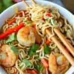 Spicy shrimp ramen bowl