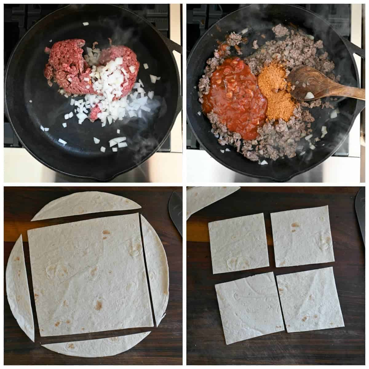 Four process photos. First one, ground beef and diced onions in a cast iron skillet. Second one, salsa and taco seasoning added in. Flour tortilla with the edges cut off to form a square. Fourth one, square tortilla cut into four small squares.