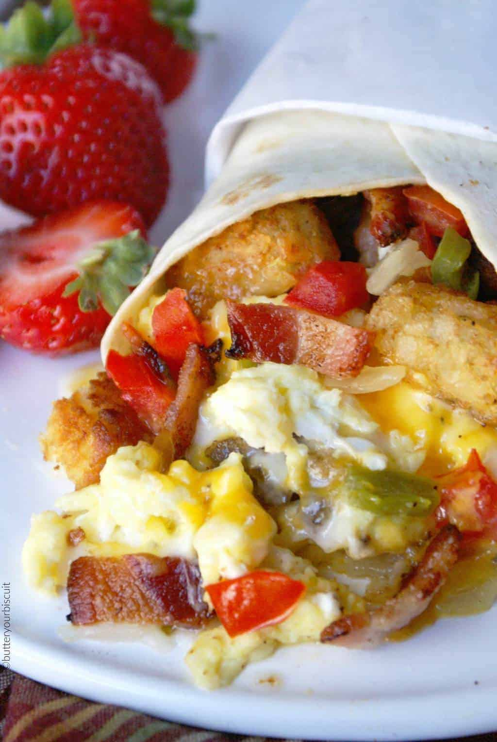 Loaded Breakfast Burrito Recipe -Butter Your Biscuit