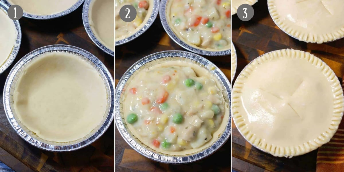 Three process photos. First one, pie crust in the bottom of the tin. Second one, filling added into the tin. Third one, pie crust placed on top and sealed with slits cut in the center.