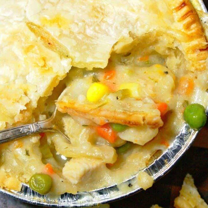 chicken pot pies in a mini freezable tin