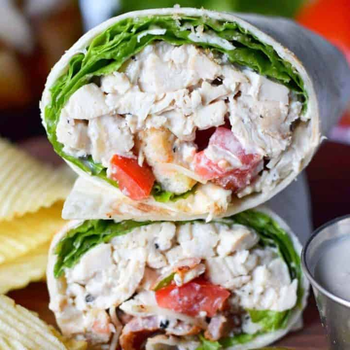 Chicken caesar salad wrap stacked up on top of each other