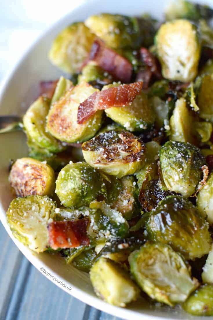 Parmesan Roasted Brussels Sprouts with Bacon