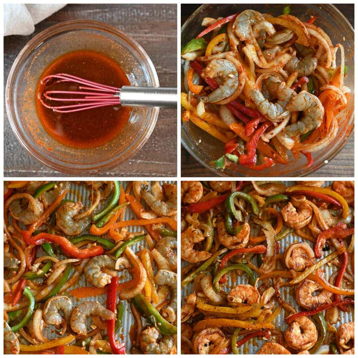 Four process photos. First one, the marinade cajun ingredients all mixed together in a small bowl. Second one, Shrimp and peppers tossed in the marinade all in a bowl. Thirn one, the peppers and shrimp all spread out onto a baking sheet. Fourth one, just our of the oven everything cooked to perfection.