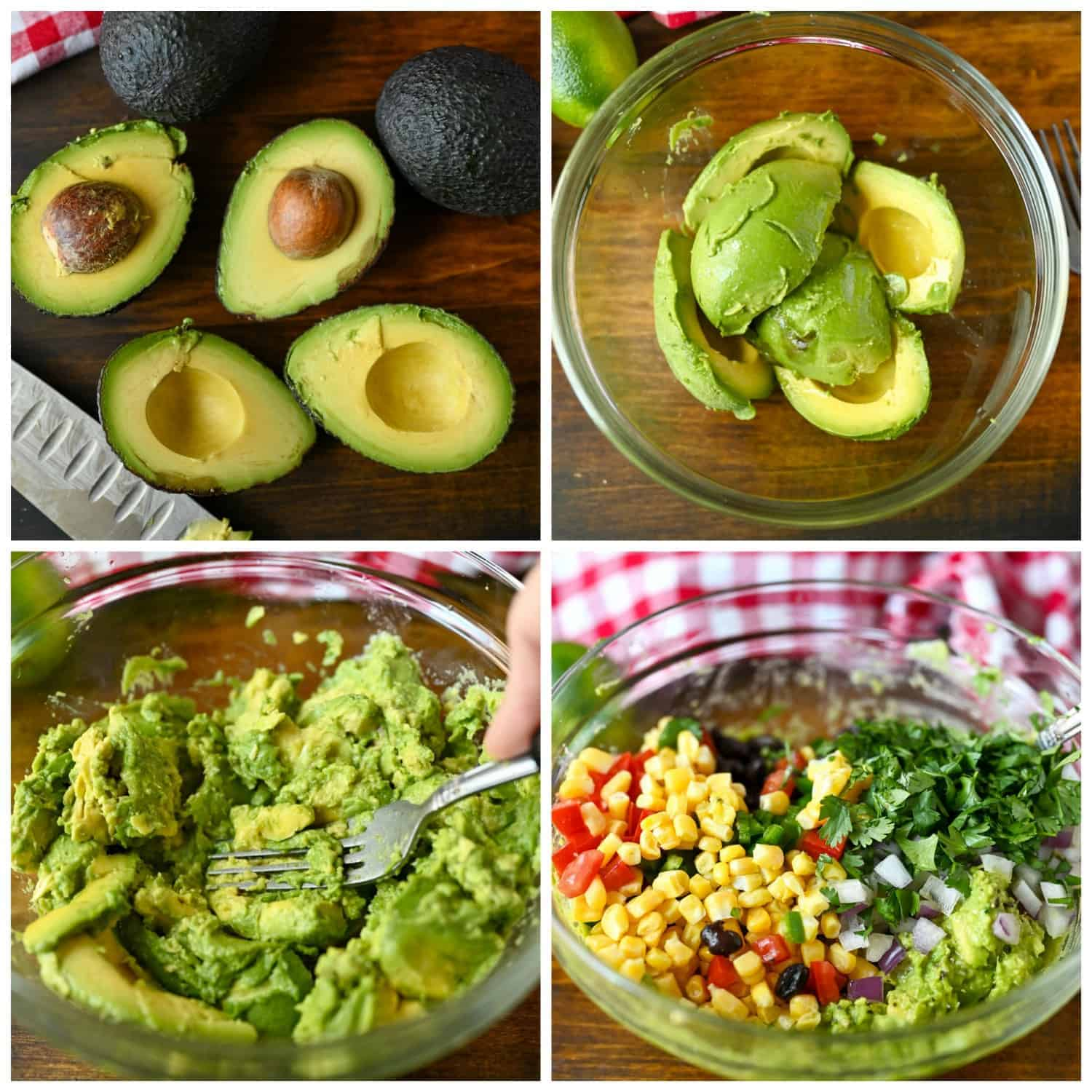 Four process photos. First one, 4 avocados and three cut in half. Second one, peeled avocados in a clear bowl. Third one, avocados being mashed with a fork. Fourth one, corn, beans, tomatoes, jalapenos, cilanto, lime juice and salt mixed in.