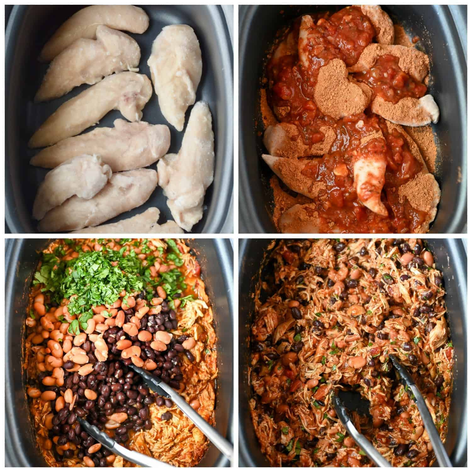Four process photos. First one raw chicken placed in a slow cooker. Second one, raw chicken with taco seasoning and salsa poured on top in the slow cooker. Third one black beans, pinto beans and fresh cilantro on top. Fourth one, everything cooked and tossed together.