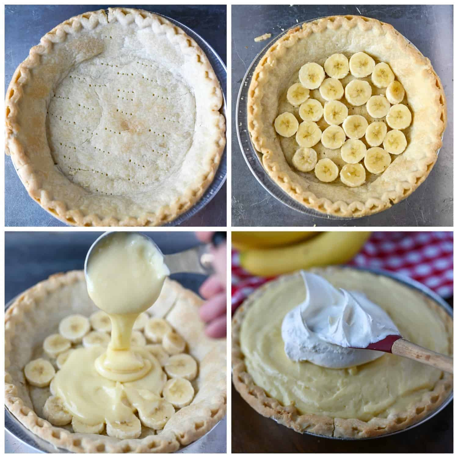 Four process shots, baked pre-made pie crust. Second shot, sliced bana layer on top of baked crust. Third shot, custard being poured on top of banan layer. Fourth shot, whipped cream being spread on top.