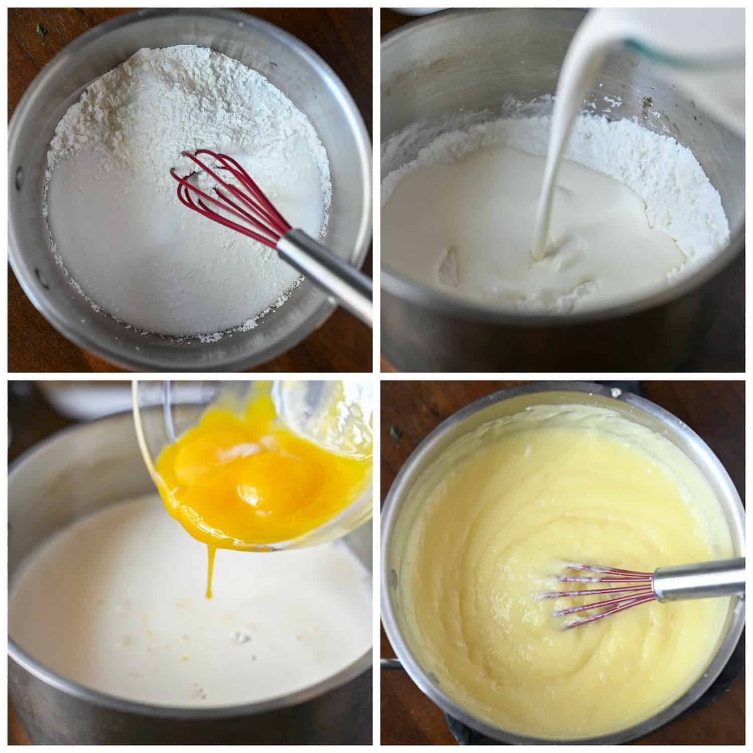Four process shots. First one, dry ingredients into a saucepan and a red whisk. Second one, half n half being poured into saucepan. Third one, egg yolks being poured into saucepan. Fourth one, all ingredients being whisked together until thickened.