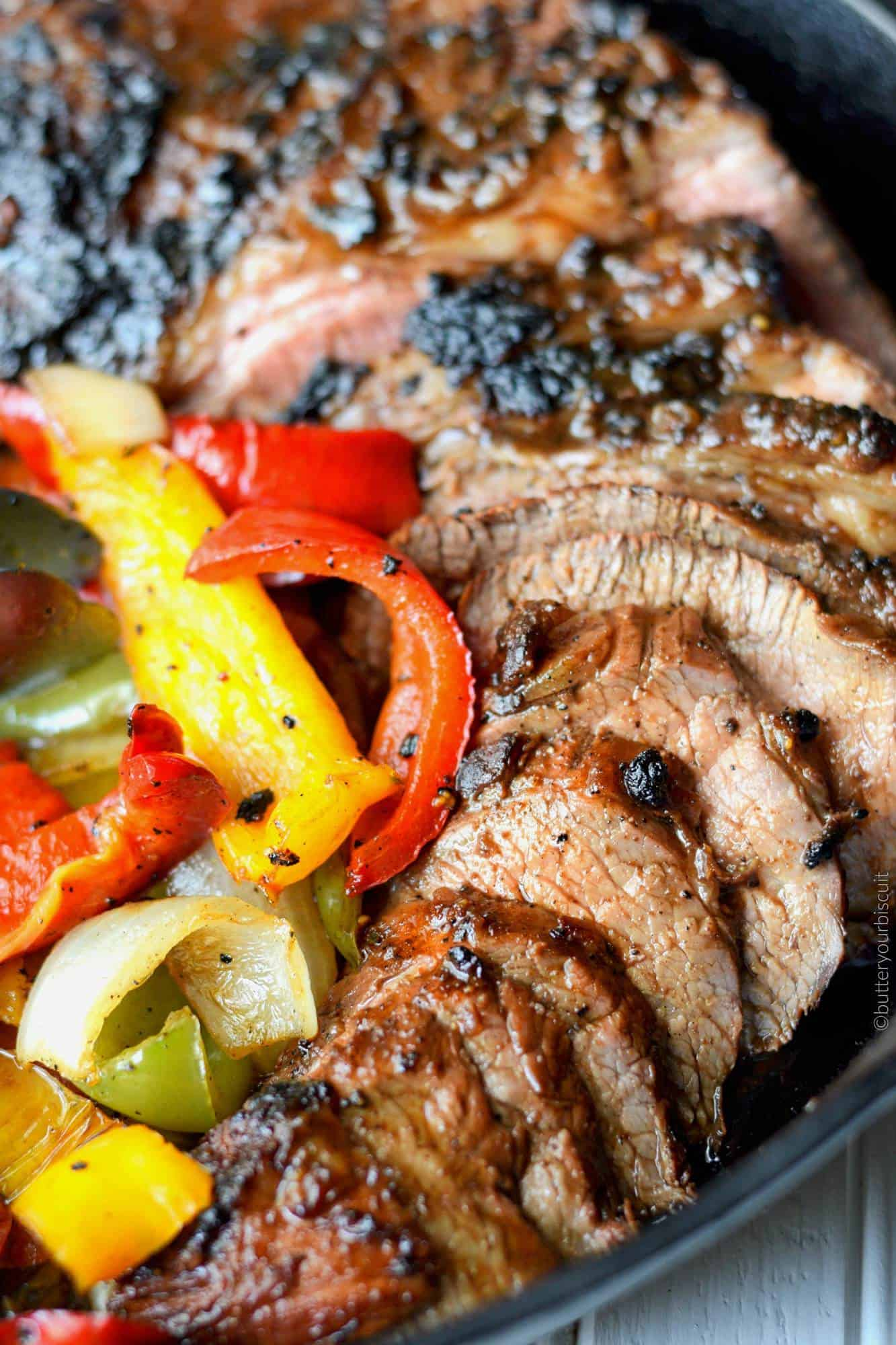 Grilled Tri Tip With Onions And Peppers Butter Your Biscuit