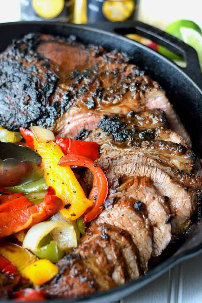 Grilled Tri-Tip with Onions and Peppers