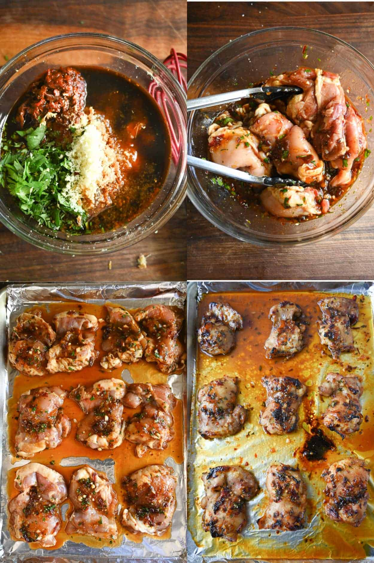 Four process photos. First one, marinade ingredients placed in a medium bowl and whisked together. Second one, marinade tossed together with chicken thighs in a large bowl. Third one, chicken thigh placed onto a foil lined baking sheet. Fourth one, chicken out of the oven and done cooking.