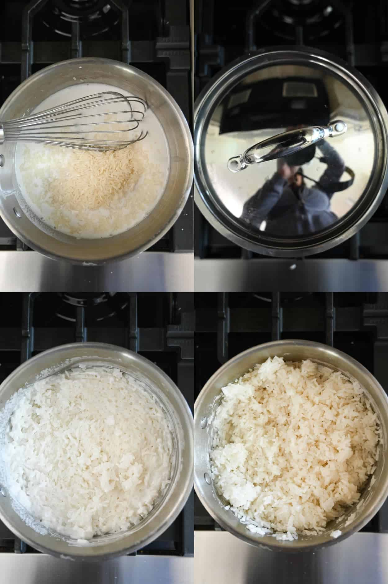 Four process photos. First one, liquid ingredients and jasmine rice in a saucepan. Second one a lid placed on top of the pot. Third one, rice is done cooking. Fourth one, rice has been fluffed with a fork.