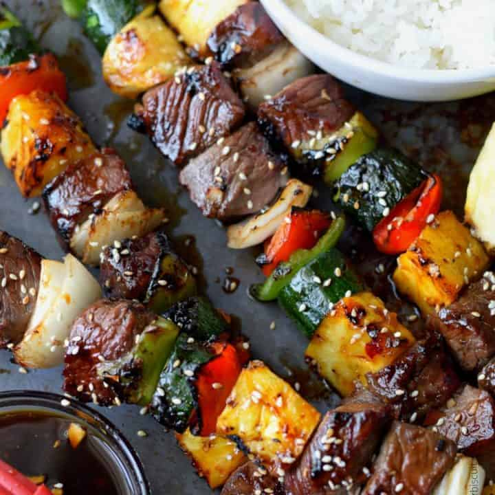 Spicy Teriyaki Grilled Steak Kebabs