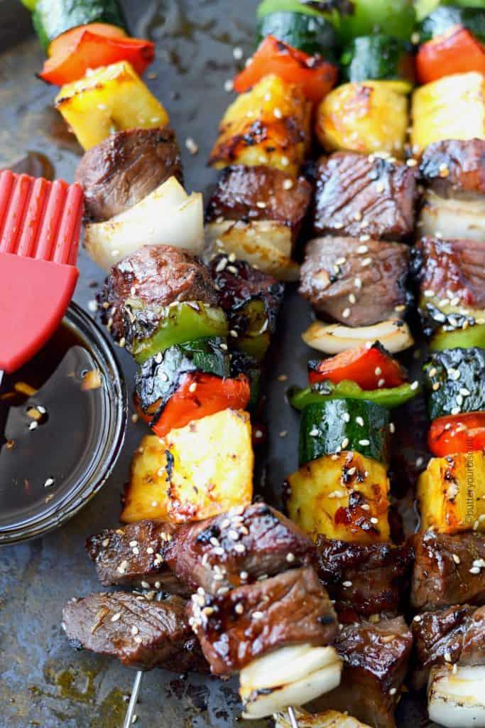 spicy teritaki grilled steak kebabs