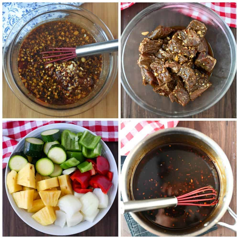 Four process photos. First one, sauce ingredients in a bowl. Secone one beef cubes placed into the marinade. Third one, all the veggies cut into chunks. Fourth one, the leftover marinade placed in a saucepan to thicken.