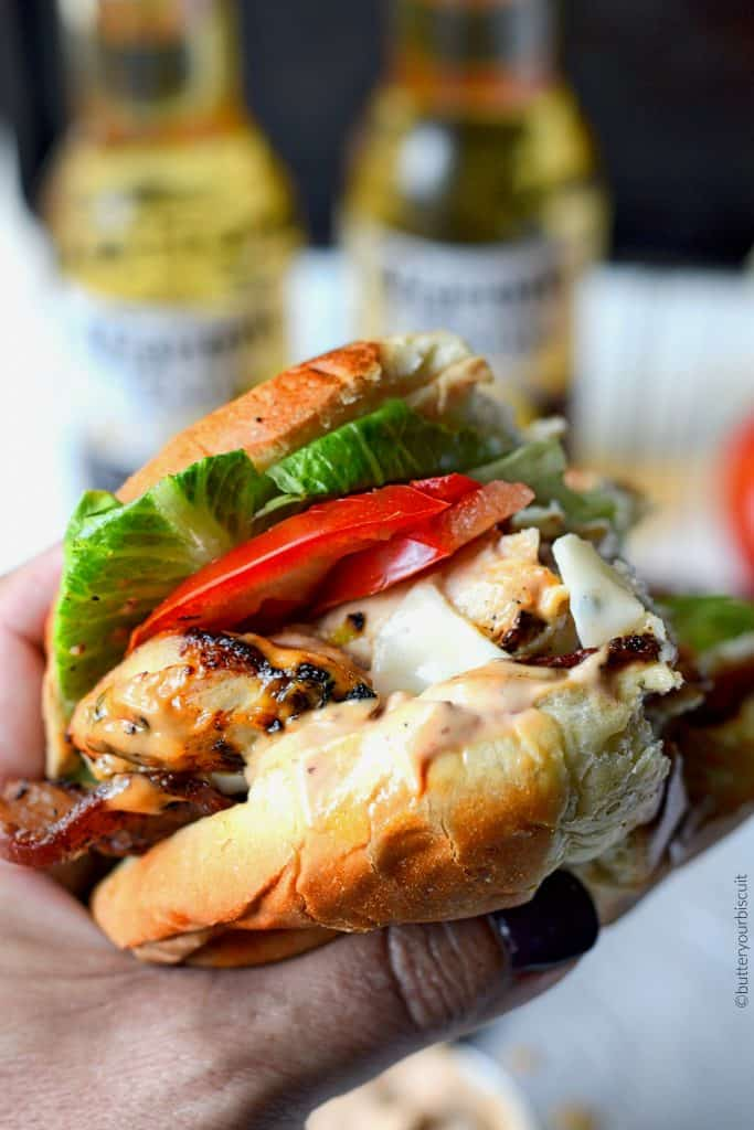 Tequila lime grilled chicken club with chipotle mayo