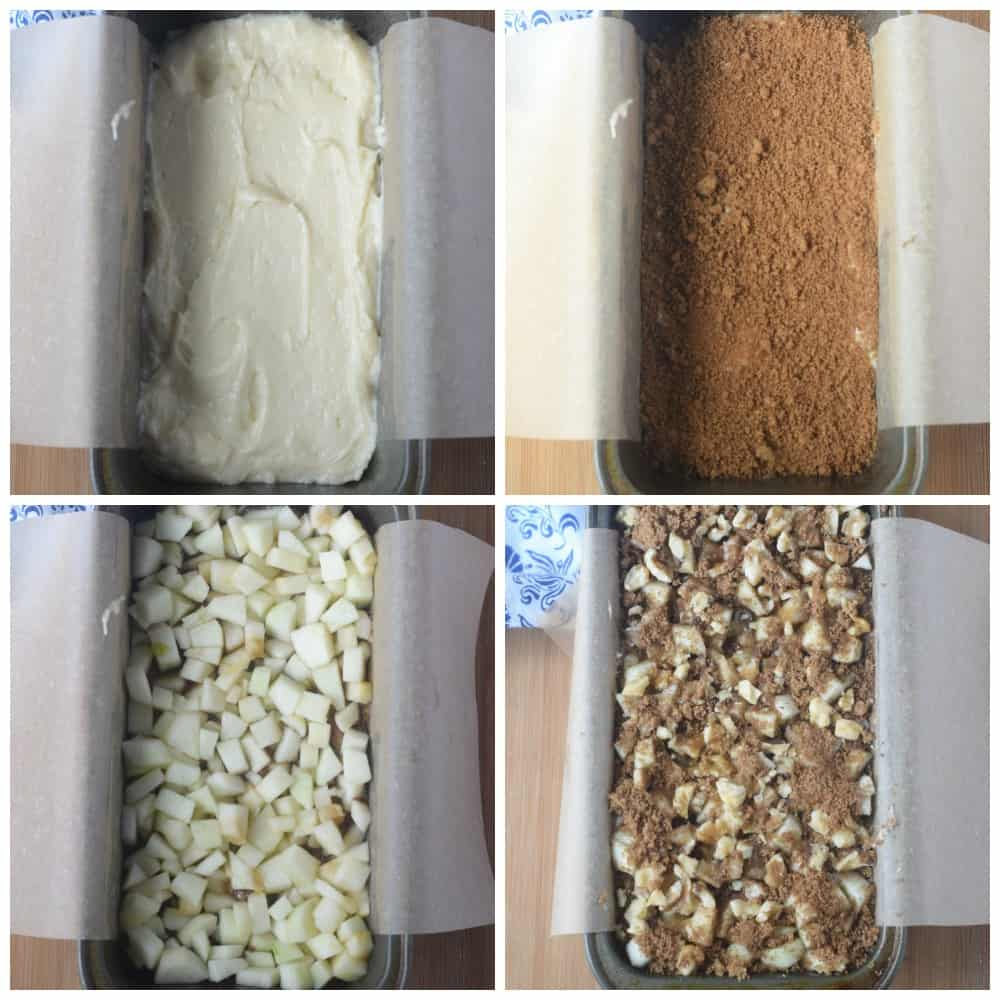 Four preocess photos. First one, batter poured into a loaf pan. Secone one, brown sugar layer placed on top. Third one, diced apples placed on top. Fourth one, brown sugar topping added.