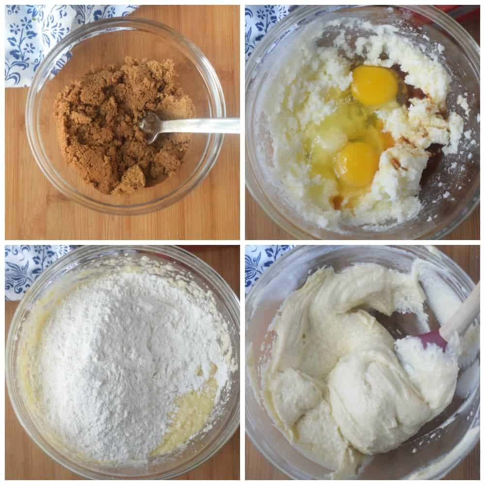 Four process photos. First one, all the topping ingredients placed in a bowl. Second one, the wet ingredinets that has been mixed together in a bowl. Third one, dry ingredients that has been added in. Fourth one, batter all mixed together.