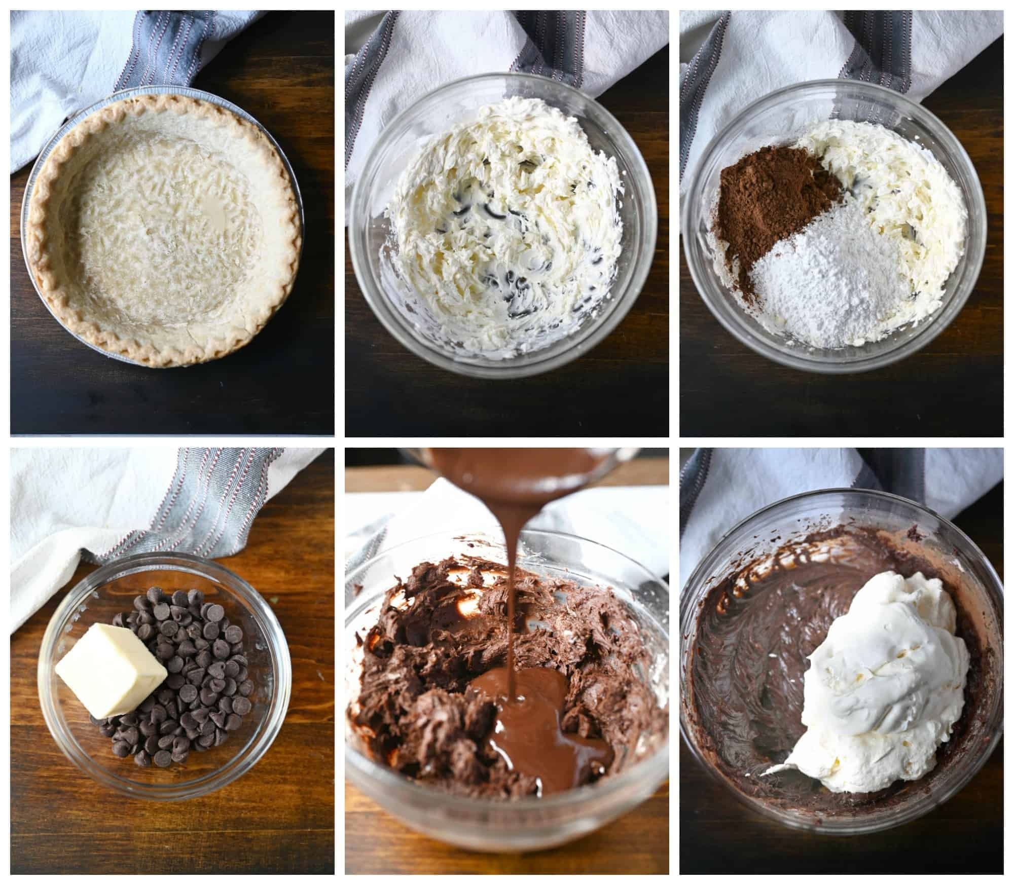 Six process shots. First one, baked pie crust. Second one, softened cream cheese mixed in a bowl using an electric mixer. Third, cream cheese, cocoa powder and powdered sugar ready to mix together. Fourth, chocolate chips and butter in a small bowl. Fifth one, melted chocolate being poured into previously mixed ingredients. Sixth one, whipped cream on top of mixed ingredients getting ready to be folded in together.