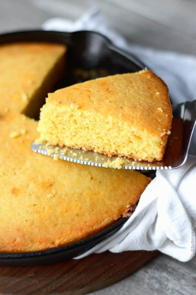 cornbread baked in a cast iron skillet