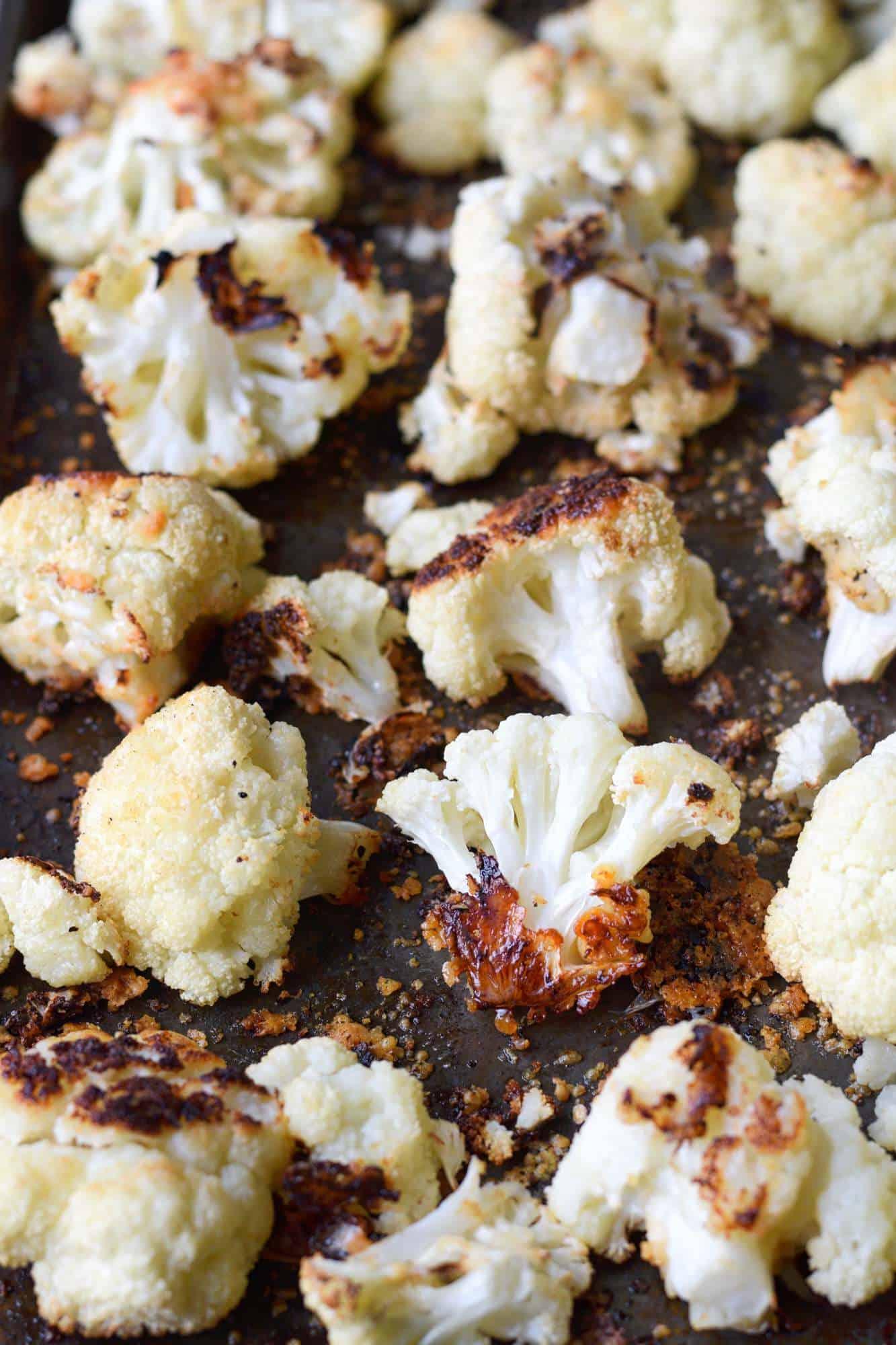 A baking sheet full of roasted cauliflower.