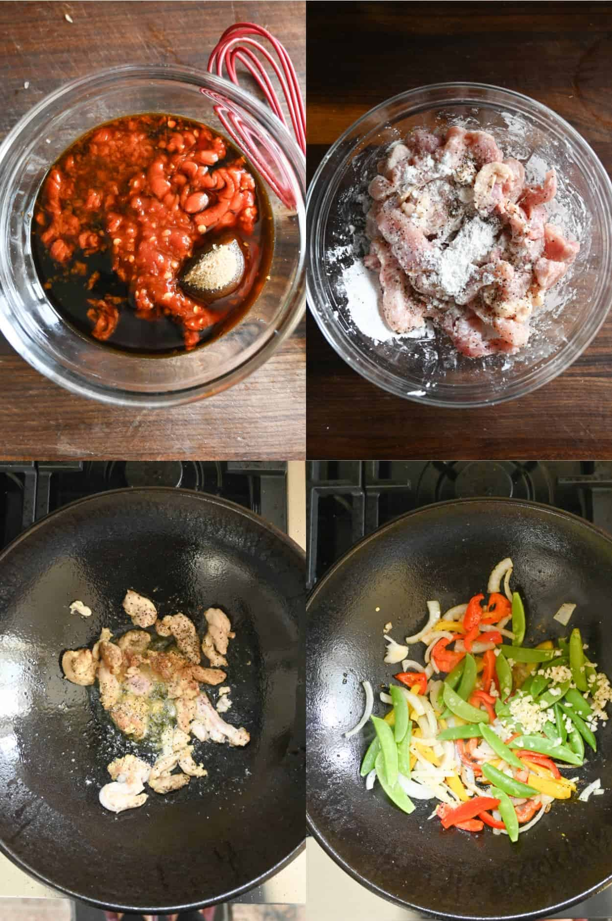 Four process photos. First one, all sauce ingredients added into a small clear bowl. Second one, raw chicken thigh pieces tossed in cornstarch in a small clear bowl. Third one, chicken cooked in a hot cast iron wok. Fourth one, veggies cooked in a cast iron wok.