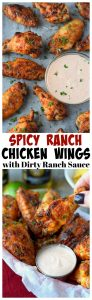 Spicy ranch baked chicken wings with dirty ranch sauce