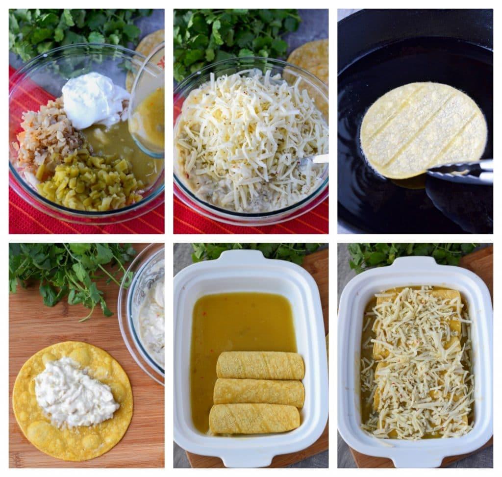 reen chile chicken enchiladas process steps
