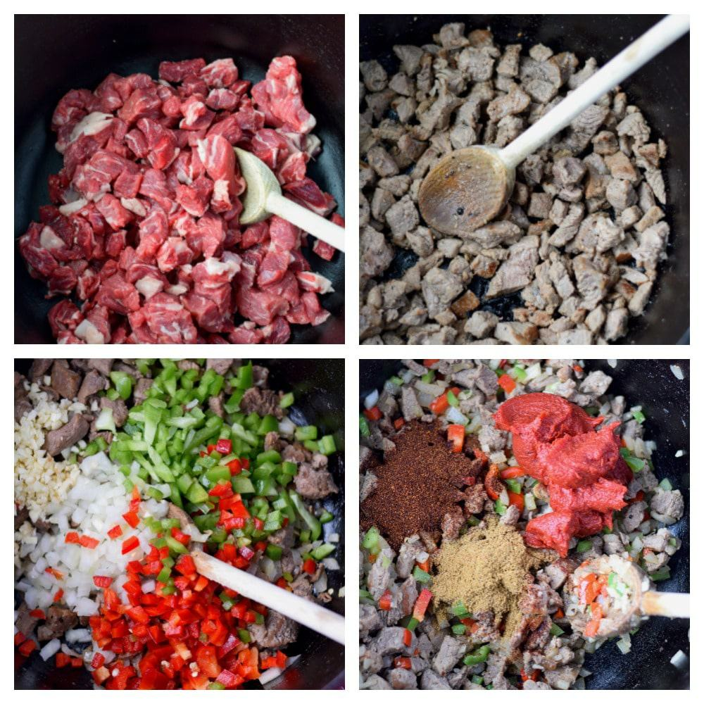 Ribeye steak chili prep steps