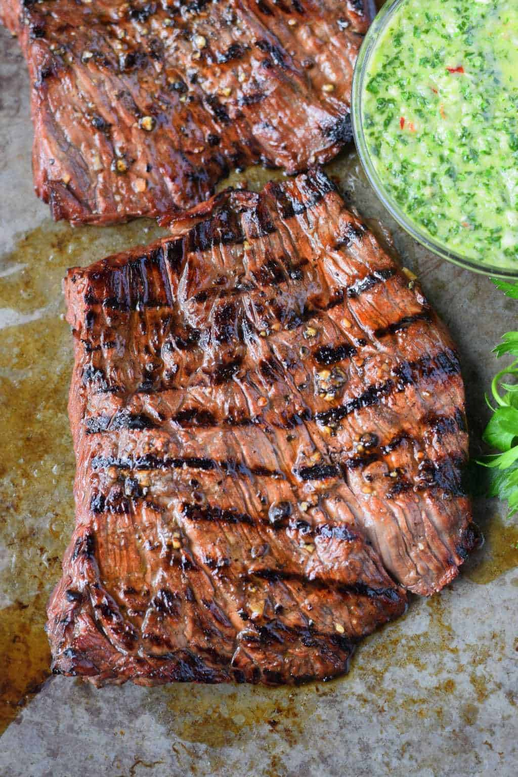 Grilled skirt steak and a side of chimichurri