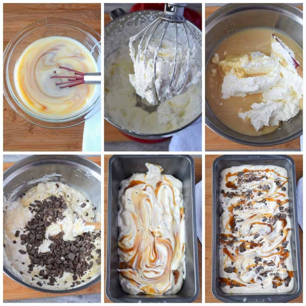 Six process photos. First one, condensed milk and caramel mixed together into a small bowl. Second one, heavy whipping cream all whipped together. Third one, caramel mixture and whipped cream being mixed together. Fourth one, chocolate chunk pieces being folded in. Fifth one, ice cream being layered into a loaf pan Sixth one, one last drizzle of caramel on top before going into the freezer.