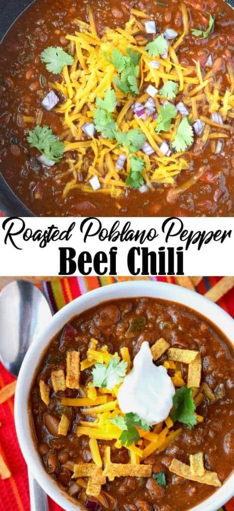 Poblano pepper beef chili