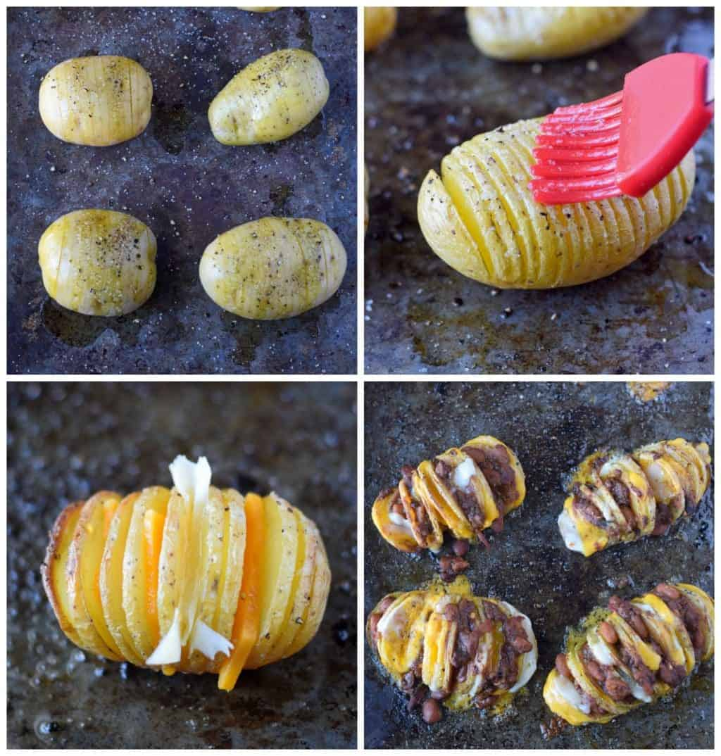 Four process photos. First one, Four Yukon gold potatoes that have thin slices 3/4 of the way through. Second one is melted butter being brushed on top of the potatoes. Third one, cheese slices that have been placed in between some of the slices. Fourth one, chili that has been stuffed in between the slices.