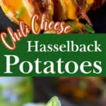 A pinterest pin, top photo is a close up photo of two hasselback potatoes stuffed with chili and cheese. Bottom photo is a fork grabbing a bite of the chili cheese potato.