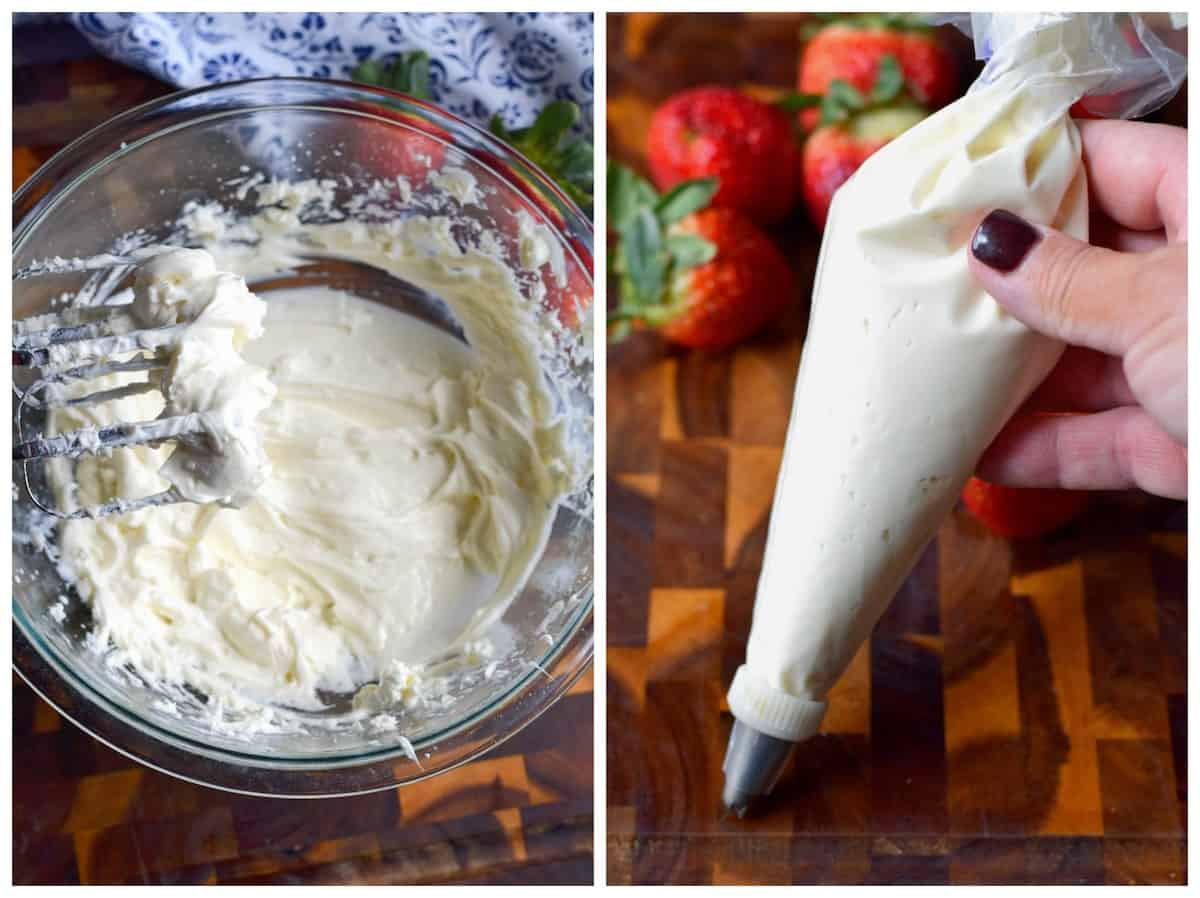 Two process photos. First one in cheesecake filling all whipped together in a large bowl. Second one, is cheesecake filling in a pastry bag.