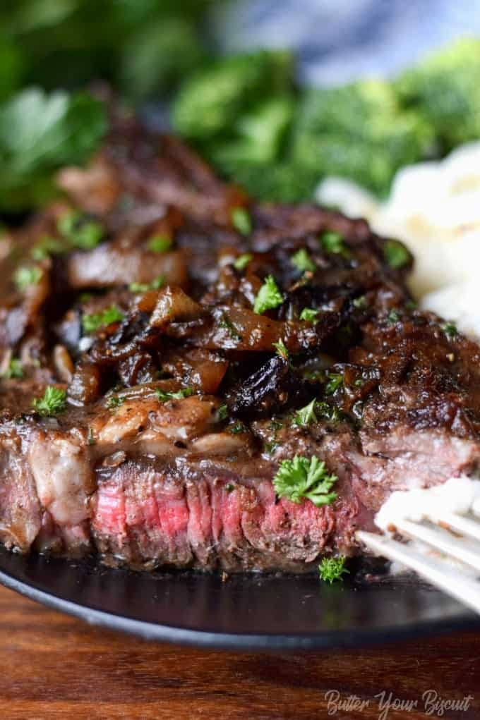 Pan Seared Garlic Rib Eye Steak Butter Your Biscuit
