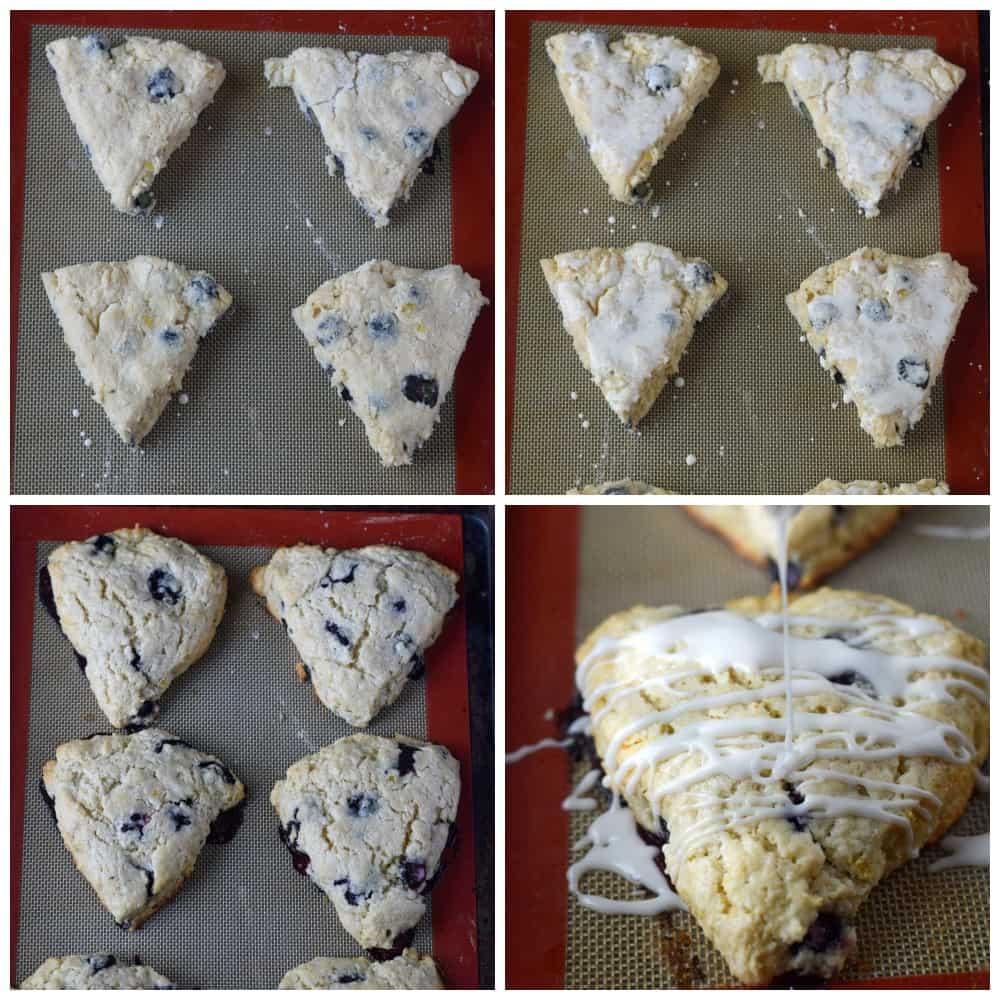 lemon blueberry scones prep steps on the baking sheet