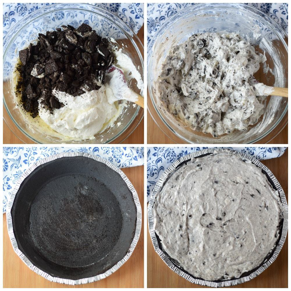 Four process photos. First one, crushed Oreos placed into the filling bowl. Second one, filling gently mixed together. Third one, an Oreo cooke shell. Fourth one, filling placed into the Oreo cookie shell.