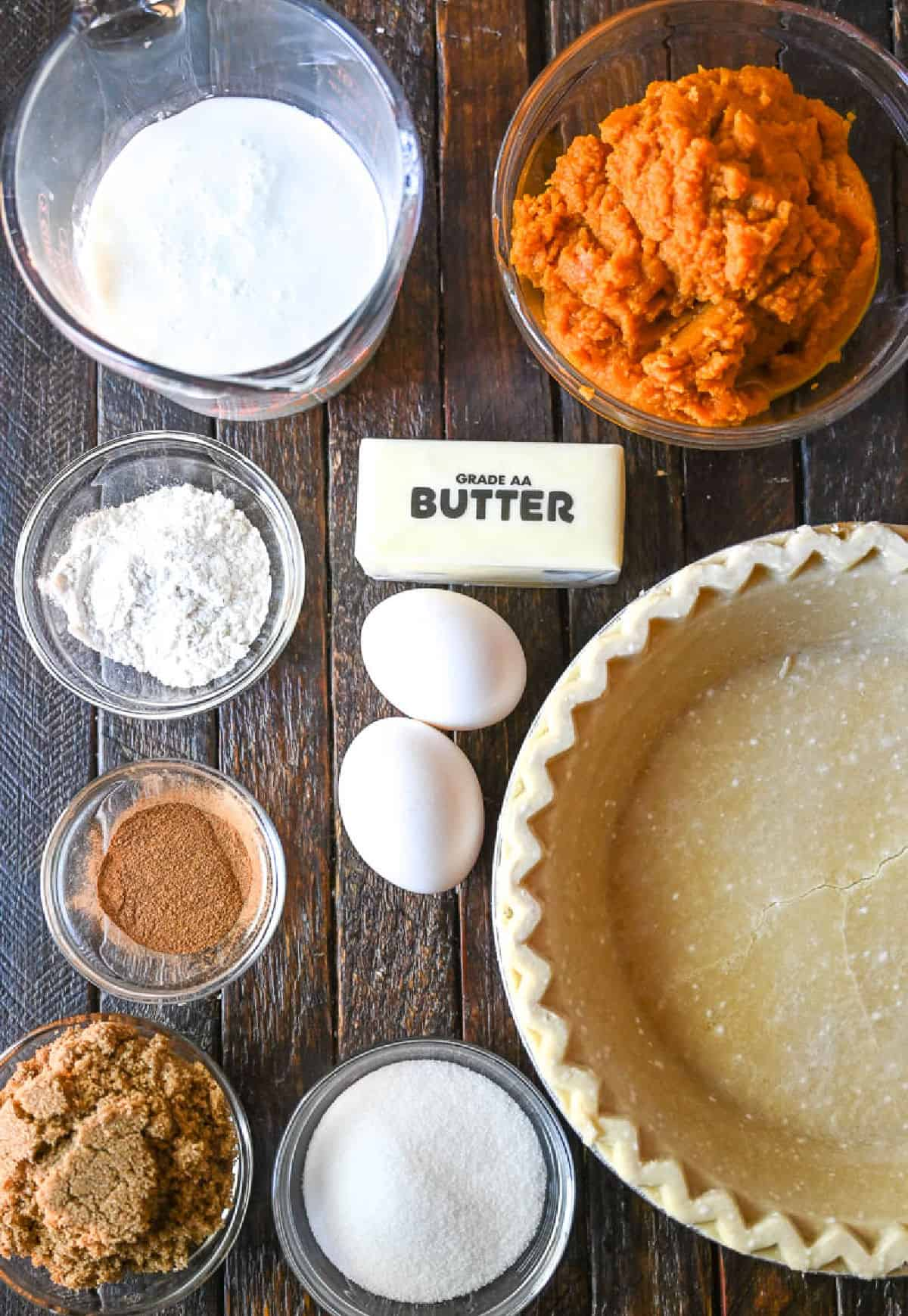 A photo of all the ingredients needed to make buttermilk pumpkin pie.