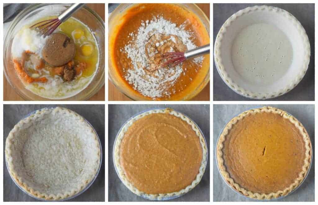 Six process photos. First one, all the filling ingredients in a bowl and whisked together. Second one, dry ingredients whisked in. Third one, stor bought crust with holes poked into the bottom. Fourth one, store bought crust baked out of the oven. Fifth one, filling placed into the crust. Sixth one, buttermilk pie fresh out of the oven.