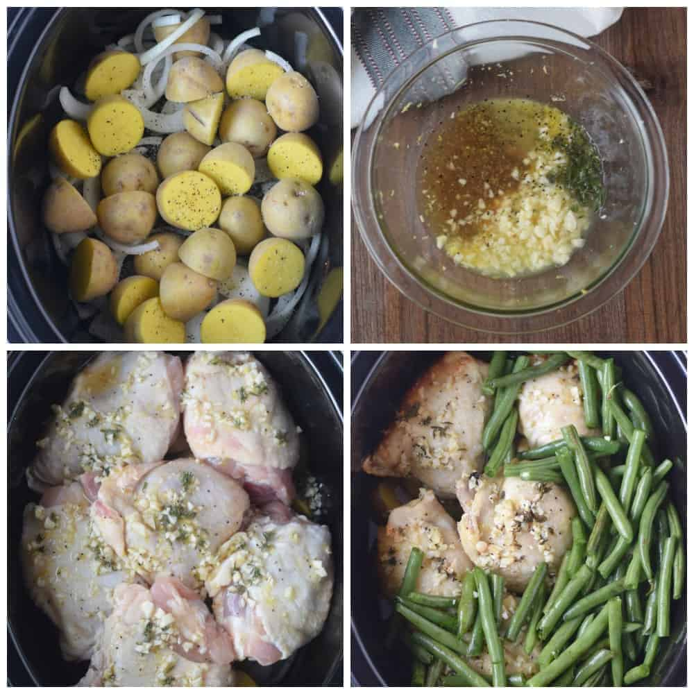 Four process photos. First one, creamer potatoes and onions in the slow cooker. Second one, All the sauce ingredients in a bowl. Third one, chicken thighs placed in the slow cooker with the sauce poured on top. Fourth one, green beans placed on top.