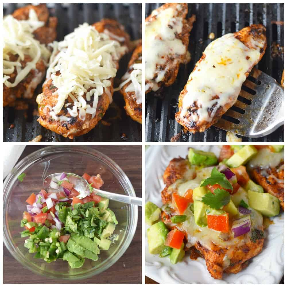 Four process photos. First oneGrilled chicken on the grill with shredded cheese placed on top. Second one, the cheese has melted on top of the grilled chicken. Third one, Avocado salsa ingredients mixed into a bowl. Fourth one, avocado salsa piled on top of a grilled piece of chicken.